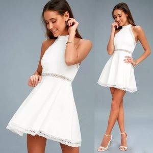 LuLus Reach Out My Hands White Lace Skater Dress